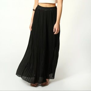 VINTAGE tiered black maxi skirt flowing